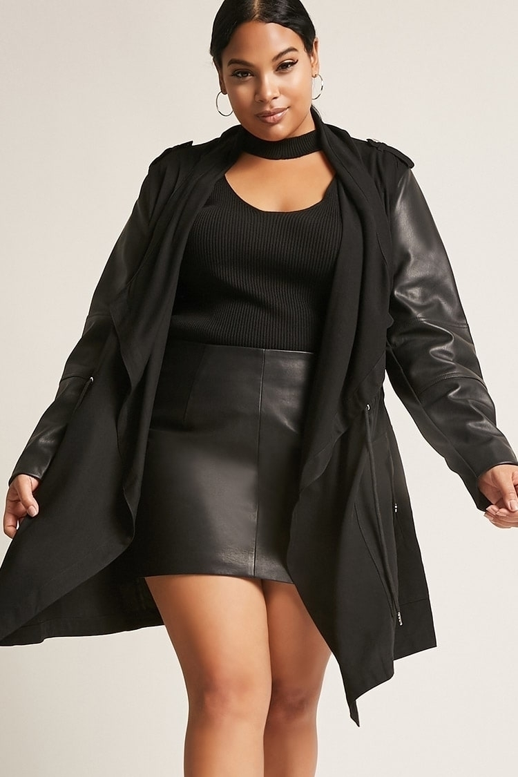 b40dab3f74c Request Plus Size Dex Faux Leather Trim Jacket
